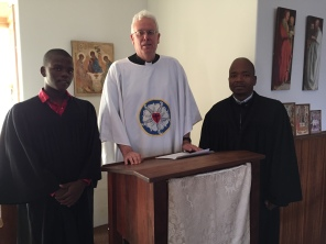 Together with Pastor Mntambo and student Mkhabela after the Confessional service