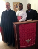 Prof. Dr. Edward Kettner after the confessional service with Stanely Mokone (student representative) and pastor Nkambule