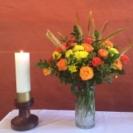 Lovely flowers on the altar