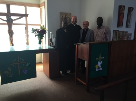 From left to right: Nkosi Mduduzi, Dr. Böhmer, Prof Klän, Vicar Erik Gboto