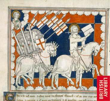 14 British library Rider on white horse Rev Description: (Miniature) The Rider on the White Horse and his followers. Above left: St. John. Title of Work: Apocalypse Author: - Illustrator: - Production: England; early 14th century Language/Script: Anglo-Norman / -