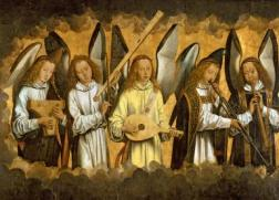 Five Angels Playing Musical Instruments, left hand panel from a triptych from the Church of Santa Maria la Real, Najera, c.1487-90
