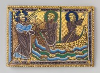 Plaque with the Calling of Saints Peter and Andrew, ca. 1160–80 British, Champlevé enamel on gilded copper; 3 7/16 × 4 15/16 × 1/8 in. (8.7 × 12.5 × 0.3 cm) The Metropolitan Museum of Art, New York, The Cloisters Collection, 2013 (2013.508) http://www.metmuseum.org/Collections/search-the-collections/479797