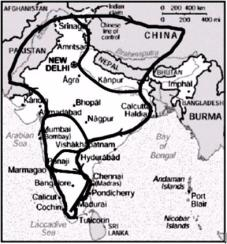 Missiontrip of St. Thomas across the subcontinent India.