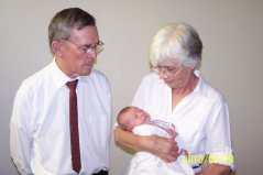 With his wife Magdalene and grandchild