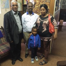 Chernet with his wife Megdes and their firstborn expecting their baby. They are together with Rev. Tefera Muzein.